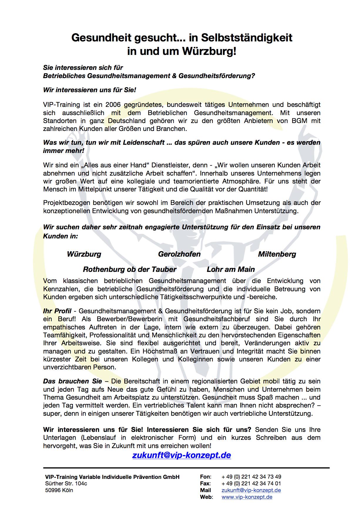 Gesundheit gesucht… in Selbstständigkeit in und um Würzburg | VIP ...
