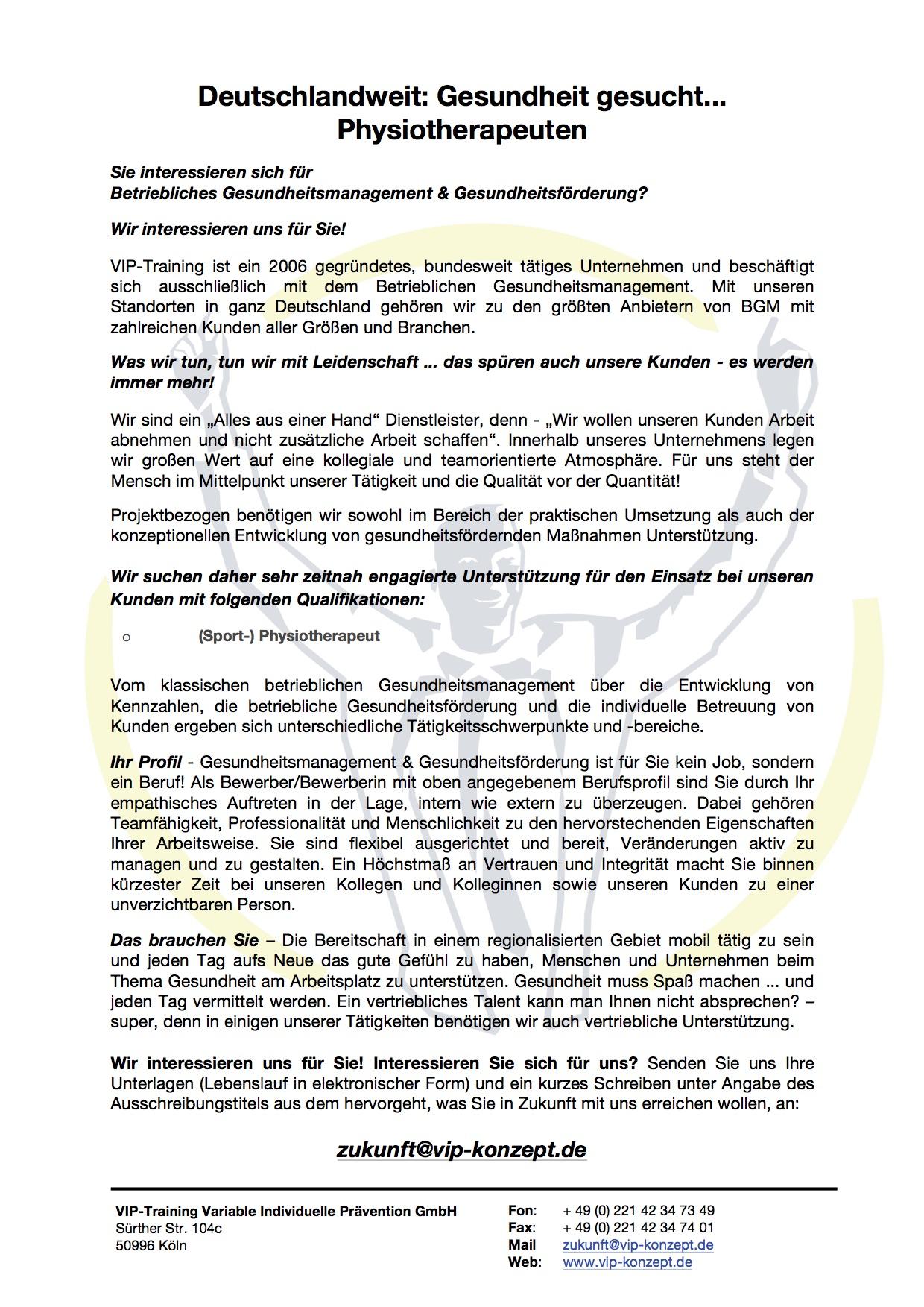 Deutschlandweit - Gesundheit gesucht - Physiotherapeuten